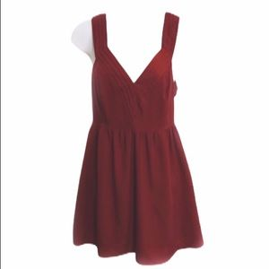 UO Pins and Needles Fit and Flare Mini Dress Red 0